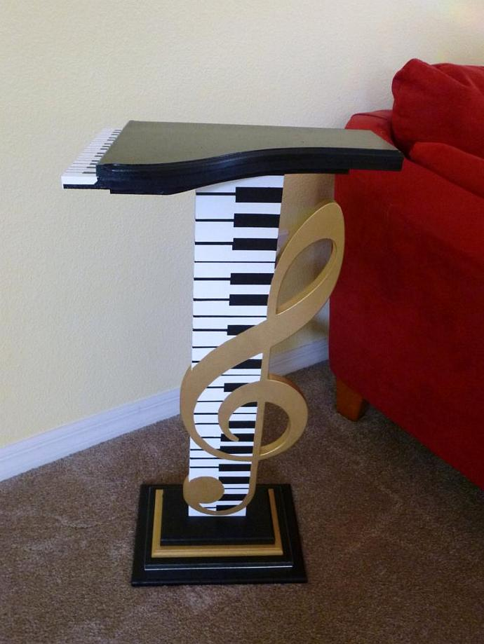 Stunning & Unique Music Accent Table Floor Sculpture Art with Mirrors by Alisa R