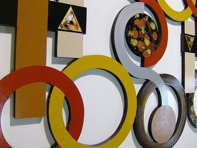 Infinity Abstract Wall Sculpture Contemporary Modern Geometric Circle Wood