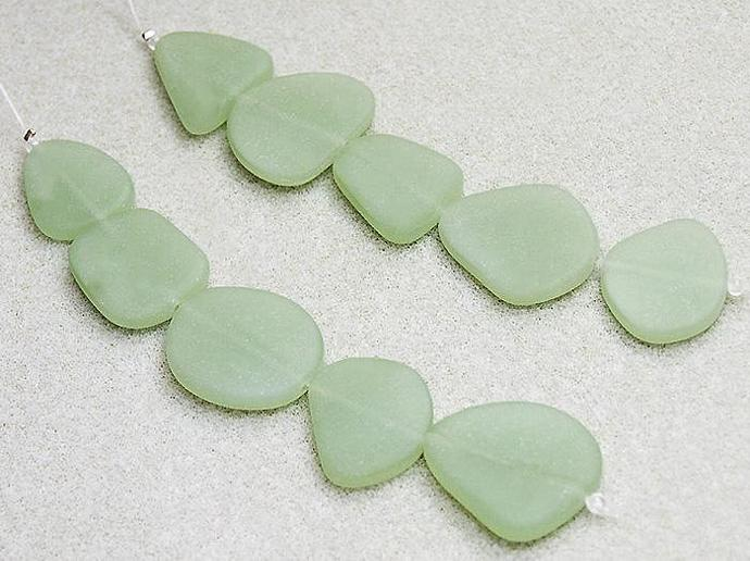 Seafoam Green Nuggets- recycled sea glass beads