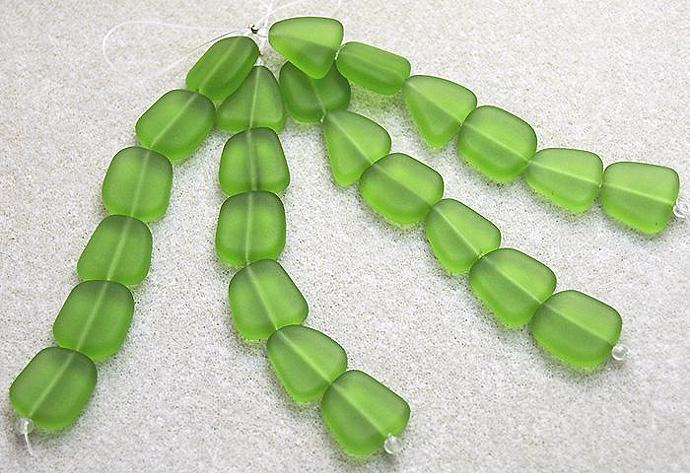 Mint Green Sea Glass Nuggets- recycled glass beads