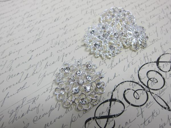 4pcs Rhinestone Brooches Set-  Clear/Silver