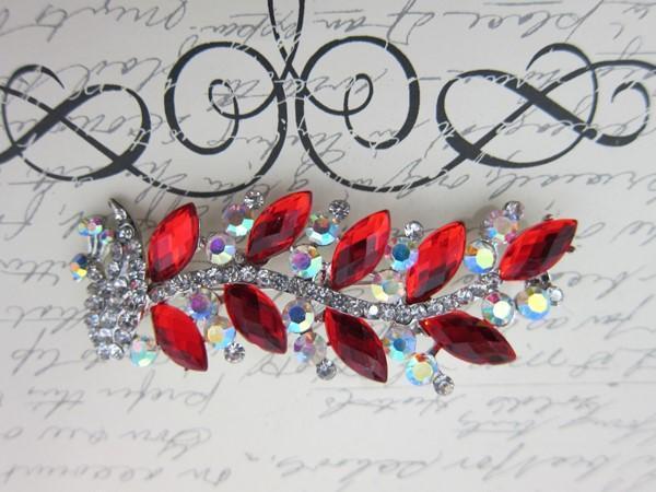 Rhinestone Peacock Brooch -  Red/Silver