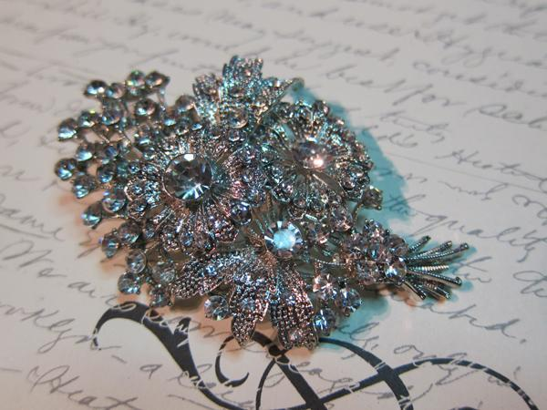 Large Bouquet Pin Brooch -  Clear/Silver