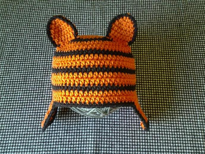 Crochet Tiger Hat with Earflaps Ready to by Greenphoenix13 on Zibbet 7bf3cf0e54f