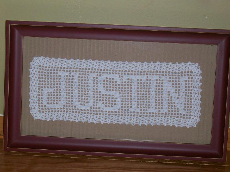 Handmade Custom Filet Crochet Name Doily By Pinokyo On Zibbet