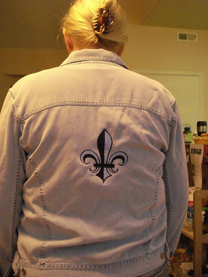 Fleur-de-Lis silk denim look jacket
