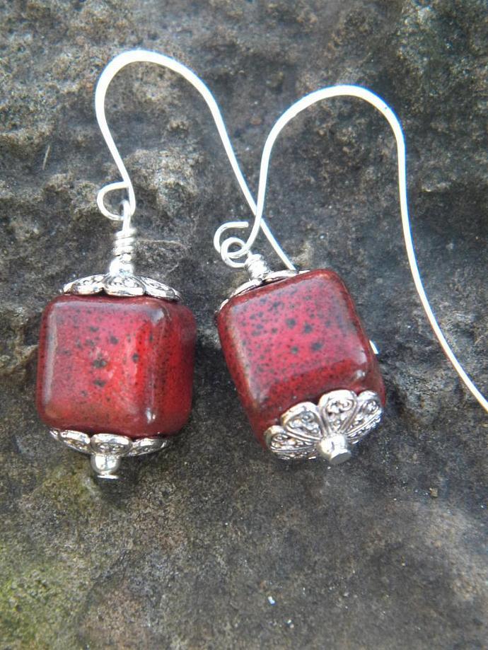 Red Ceramic Cube Earrings