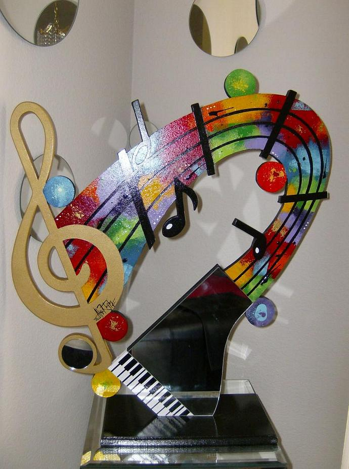 New Contemporary Modern Abstract Music Mirror Piano Table Sculpture by Diva