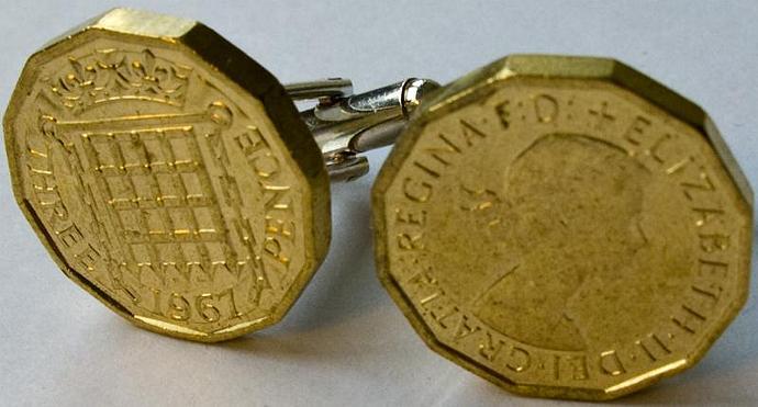 Threepence piece cufflinks