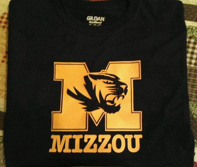 Mizzou Tigers Yellow/Gold On Black Tee All Sizes - Dry Blend Cotton Long Sleeve