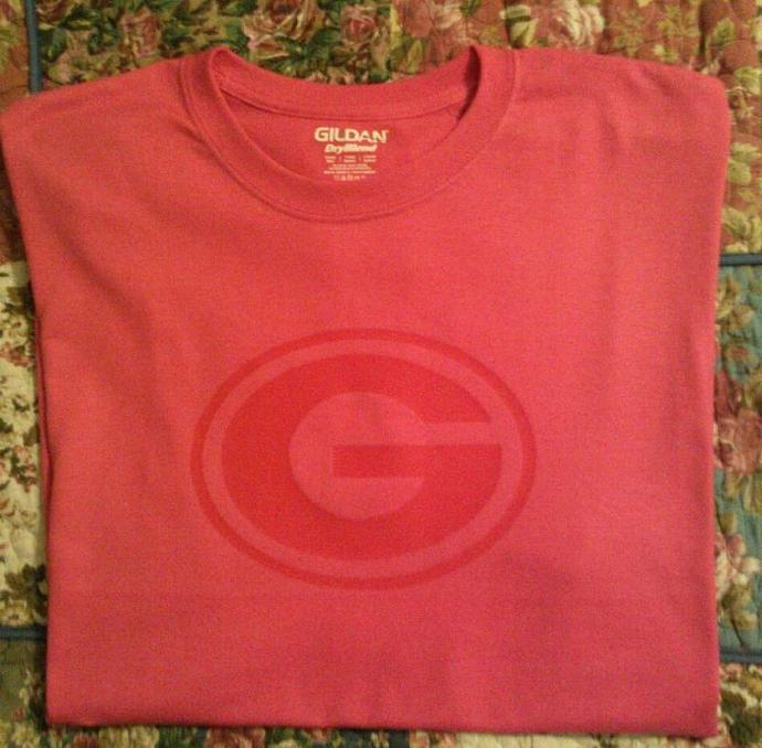 Georgia Bulldogs G Red On HOT Pink Tee All Sizes - Dry Blend Cotton Long Sleeve