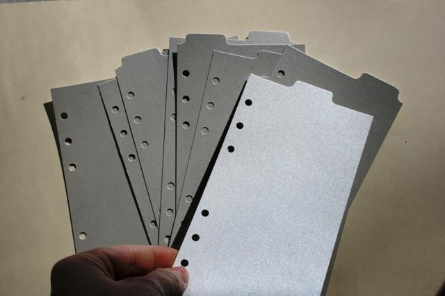 9 Shimmery Silver top tab dividers for Personal Filofax