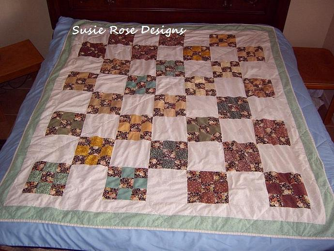 "Custom Order - Choose Your Colors Autumn 9 Patch Quilt, 60""x80"" - Twin - Gift,"