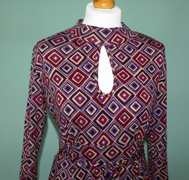 Purple Geometric Cotton Dress Made in Italy