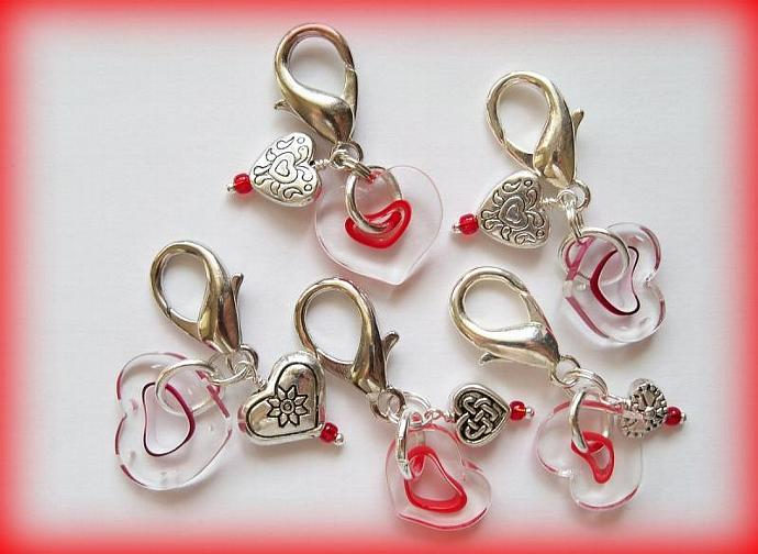 Purse Jewelry and Zipper Pull Sweethearts with Furnace Glass Heart beads
