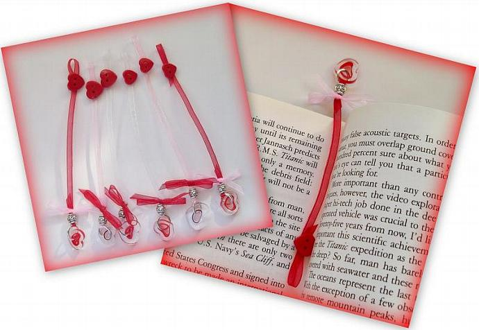 Bookmark Sweethearts  with Furnace Glass Hearts