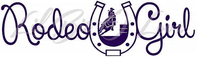 Rodeo Girl Horseshoe Vinyl Decal with Barrel Racer Racing Sticker Cowgirl