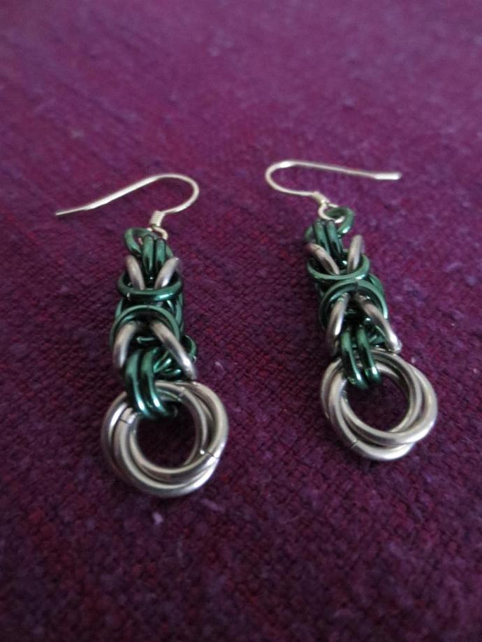 Byzantine Rosette Earrings in Bright and Anodized Aluminum