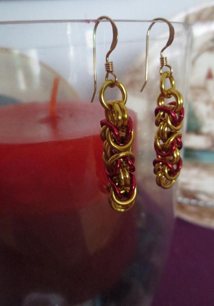 Anodized Aluminum Byzantine Earrings