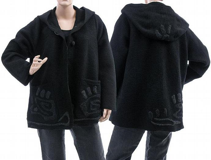 Handmade artsy boho hooded jacket, coat, boiled wool in black / lagenlook for