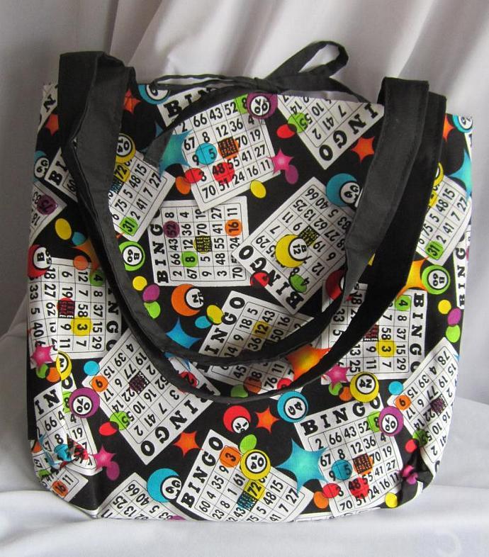 Bingo Bag/Purse/Lunch Bag Black with Tie Closure