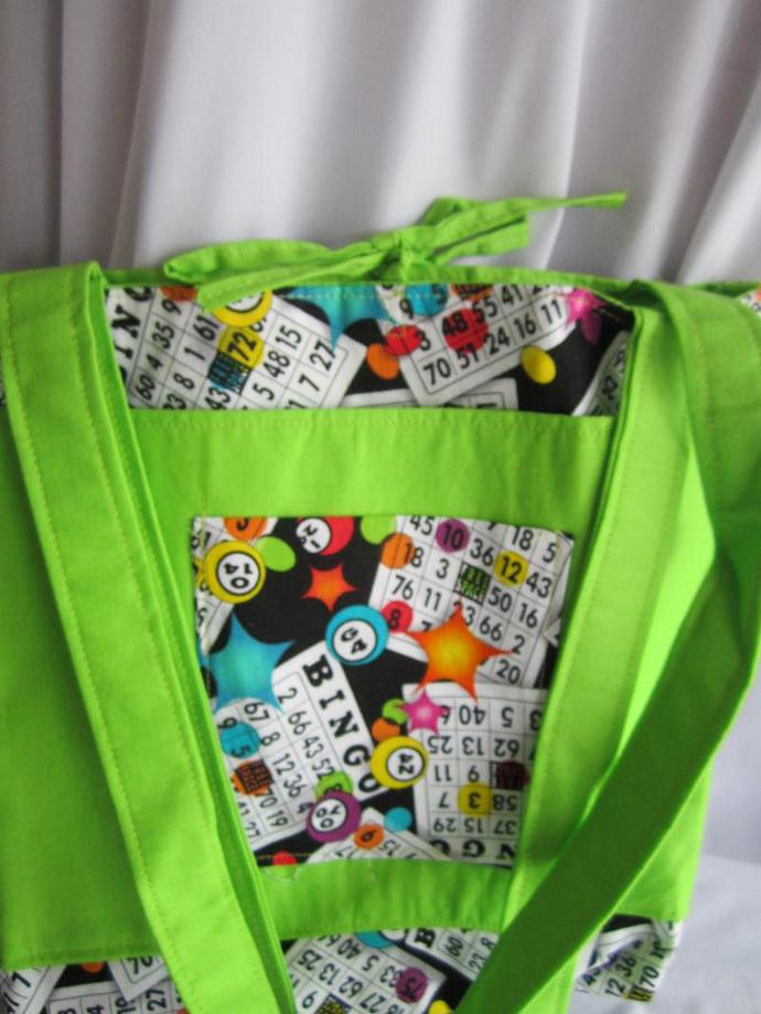 Bingo Bag/Purse/Lunch Bag Lime Green with Tie Closure
