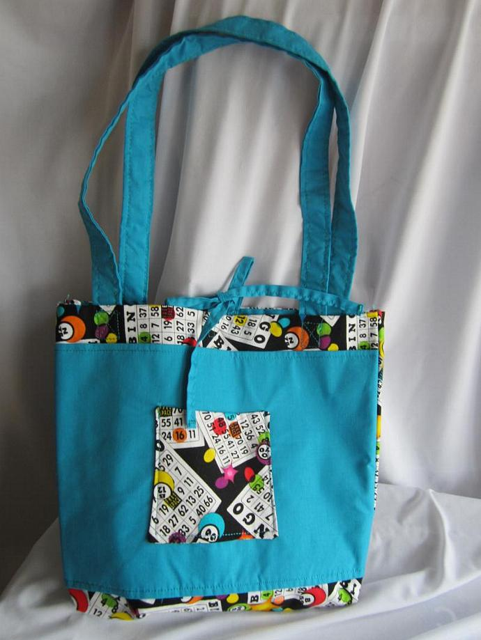 Bingo Bag/Purse/Lunch Bag Blue with Tie Closure