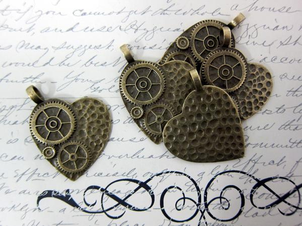 5pcs Grunge Heart Set - Vintage Bronze