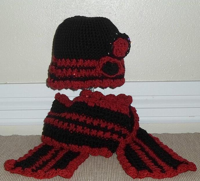 Crochet Cloche and Scarf Set Sequins Appliques