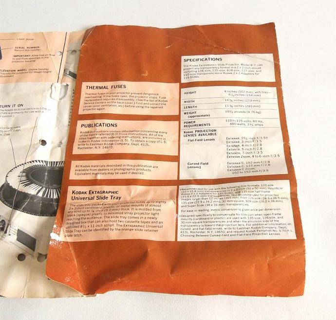 Kodak Ektagraphic B2 Instruction Manual for Slide Projector (as-is)