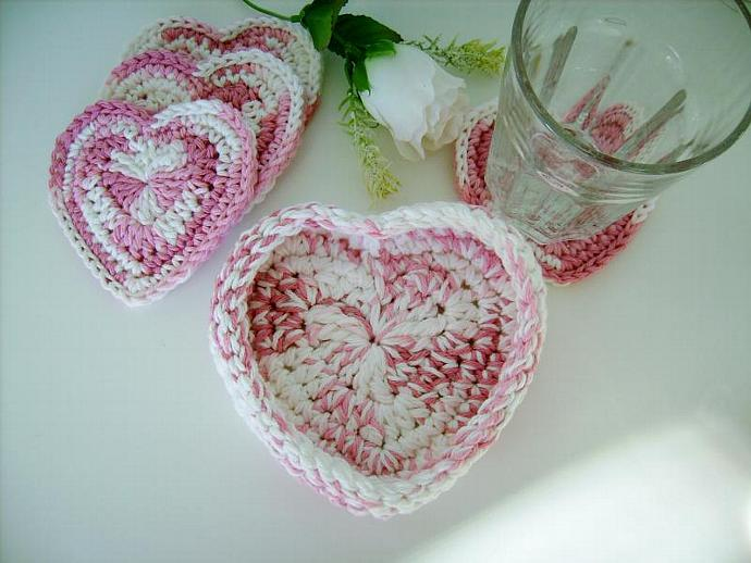 Pink and White Crocheted Heart Coaster and  Bowl Set