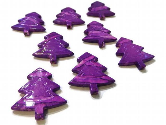 Purple Christmas Tree Beads Pine Tree Beads in Red Green Blue and Purple