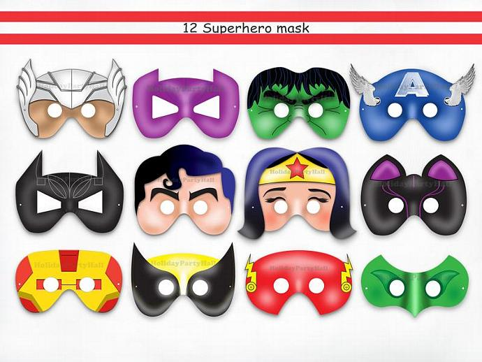 Unique 12 Superhero Party Printable Masks Batman Birthday Paper