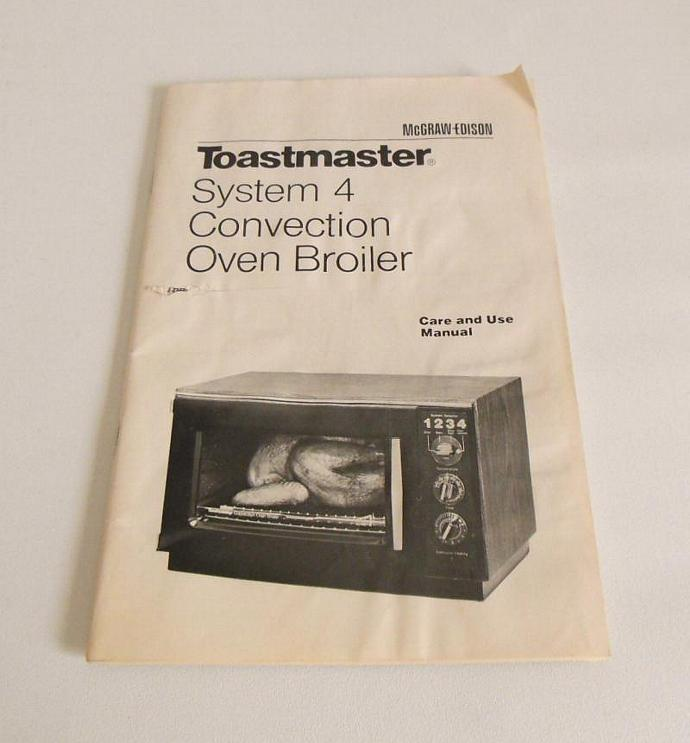 Toastmaster System 4 Convection Oven Instruction Manual Recipe Booklet vintage