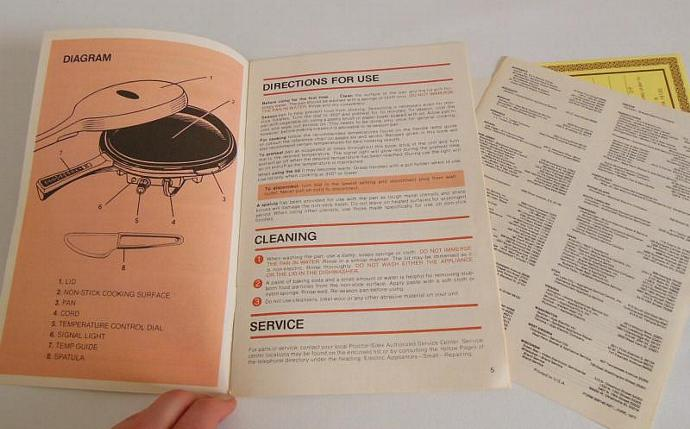 Proctor Silex Pan Handler Instruction Manual Recipe Booklet