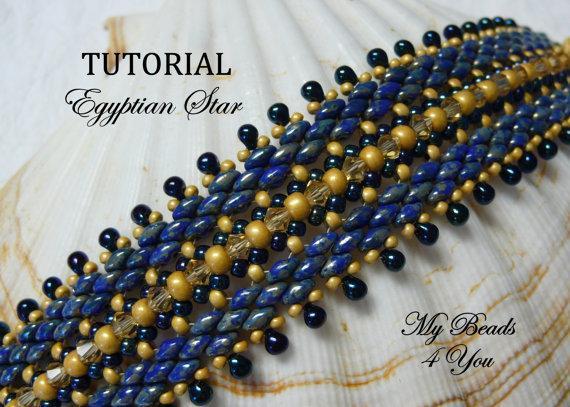 Beaded Bracelet Tutorial Egyptian Star, Beadwork, Beading Instructions, PDF