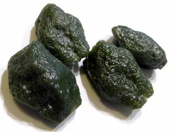 4 Green Vintage Lucite Nugget Beads