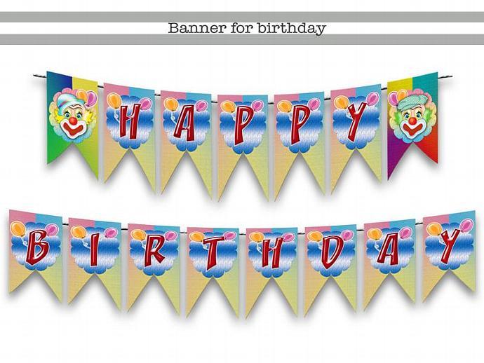 Birthday Banner Clown,party,birthday party