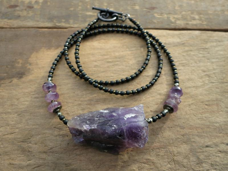 products rose taiga raw necklace amethyst