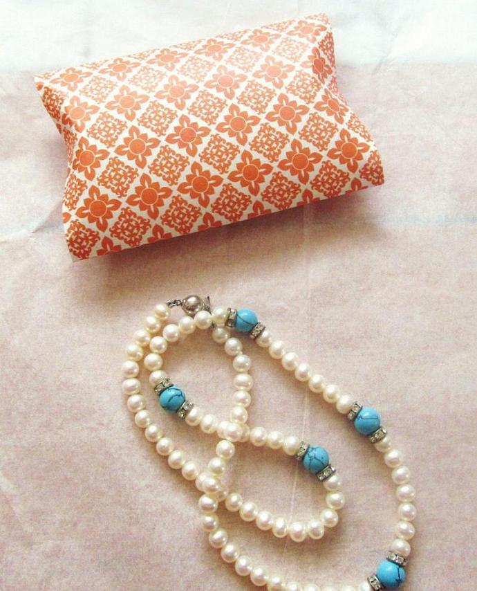Elegant Collection Gift Boxes Set of 2 - Pillow Gift  Boxes,  Orange Gift Box,