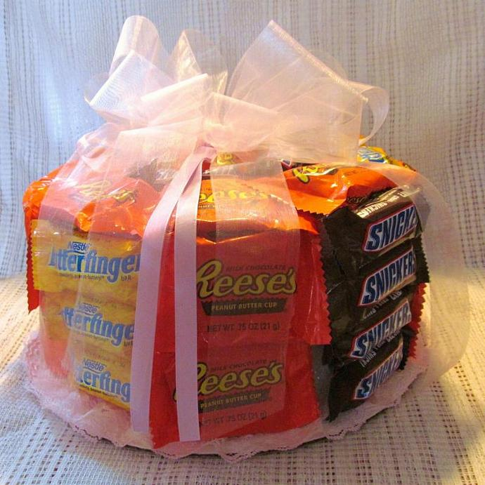Mixed Candy Bar Cake (Made to order) - Single layer Chocolate  Centerpiece Party