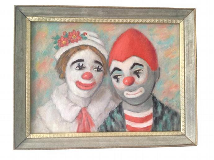 """Vtg Original THE CLOWN Kids Oil on Canvas Framed Painting  By Berty- 18"""" x 14"""""""