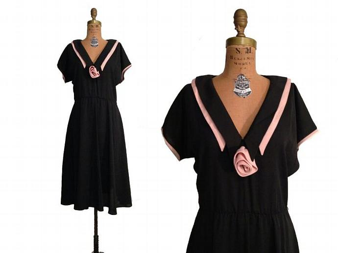 SALE: Vtg. ALINE Marelle Black & Pink Dress / Double Claudine Collar- M/L