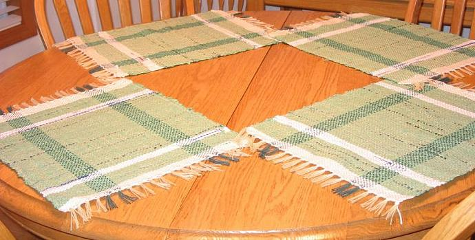 Set of 4 Placemats hand woven from plastic grocery bags