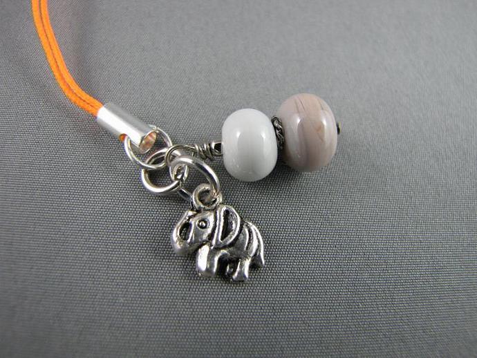 Cell Charm, Zipper Pull, Grey Elephant Glass Beaded