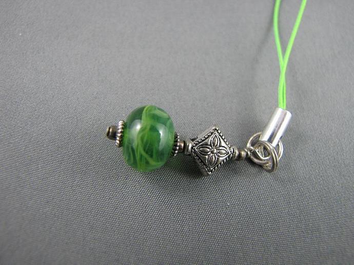 Cell Charm, Zipper Pull, Green Glass Beaded, Celtic Charm
