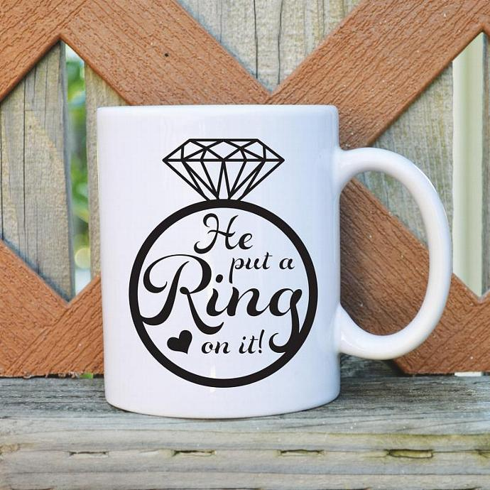 He Put a Ring on it - Bridal Mug - 11 oz. Coffee Mug - Tickled Teal