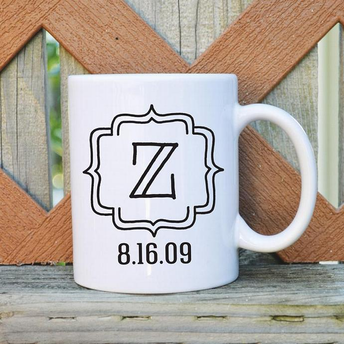 Custom Initial & Date - 11 oz. Coffee Mug - Tickled Teal