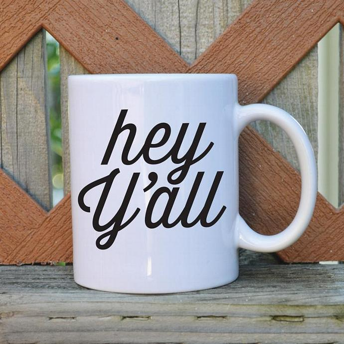 Hey Y'all - Southern Charm - 11 oz. Coffee Mug - Tickled Teal