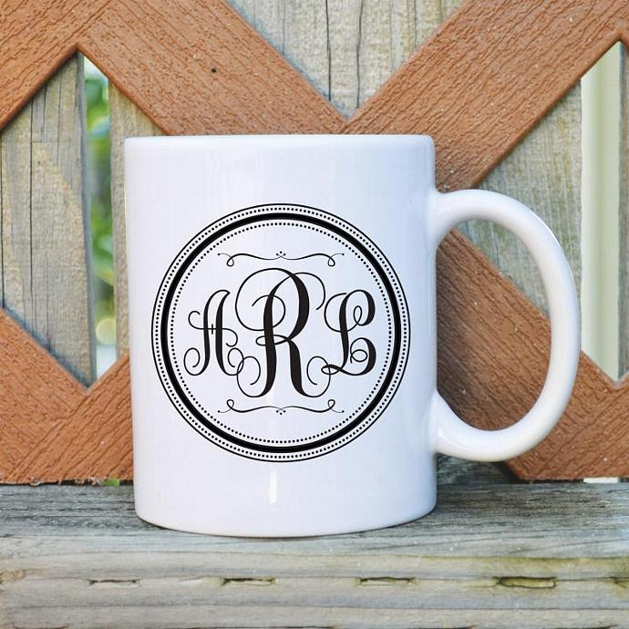 Custom Monogram - Personalized with your initials - 11 oz. Coffee Mug - Tickled
